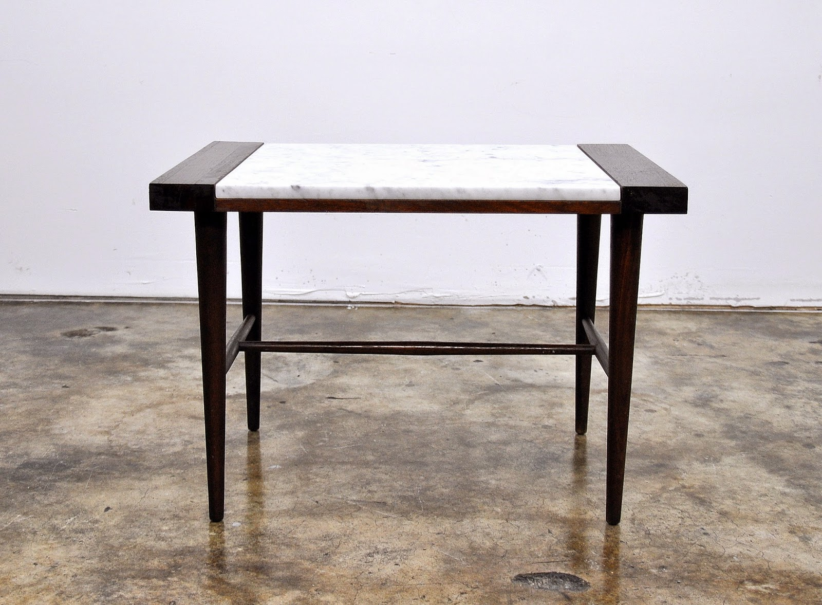 Select Modern Danish Modern Marble Top Side Or End Table