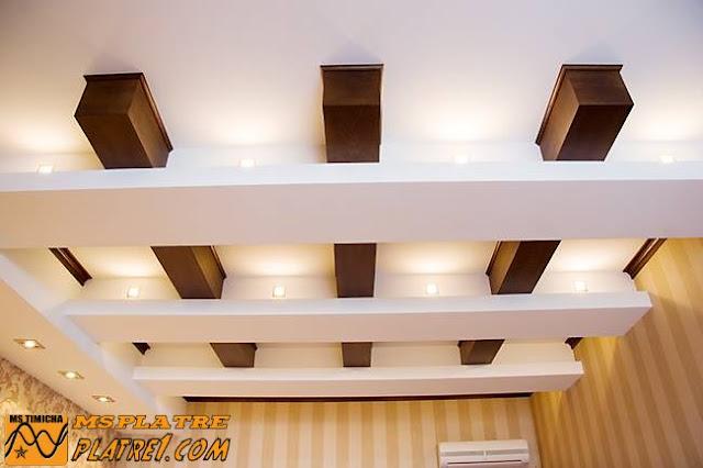 Moderne plafond en plâtre pour une chambre a coucher