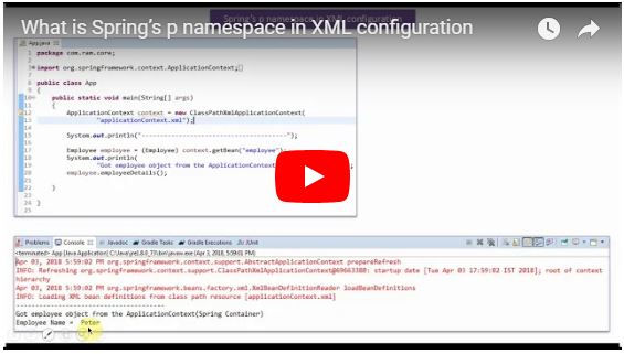JAVA EE: Spring's p namespace in XML configuration - Playlist