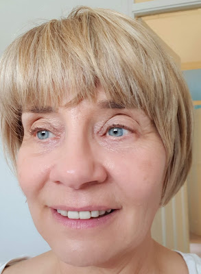 The finished effect:  what Strivectin's LineBlurFector primer looks like on an over-50s woman, under make-up