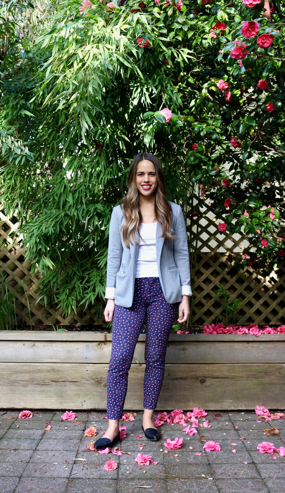 Jules in Flats - Patterned Pants with Blazer (Business Casual Spring Workwear on a Budget)