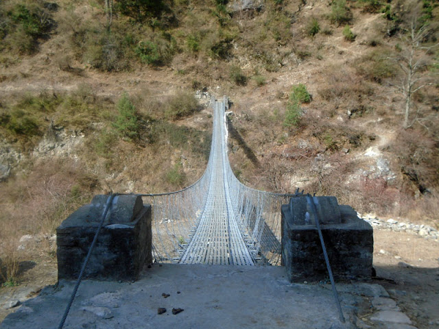 Suspension Bridge at Manaslu trek Gorkha. Tea house trekking manaslu Nepal