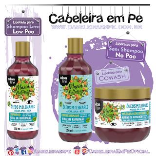 Shampoo (Low Poo), Máscara (No Poo) e Condicionador (No Poo) Maria Natureza Óleos Milenares - Salon Line