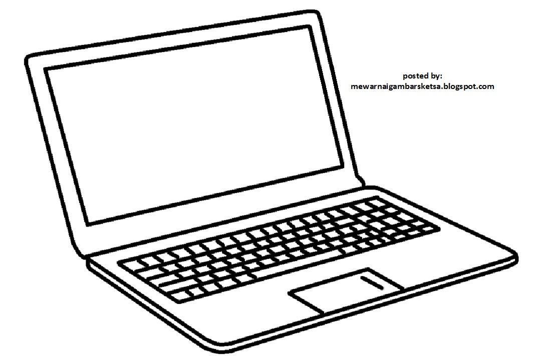 Mewarnai Gambar Mewarnai Gambar Sketsa Laptop Komputer 1