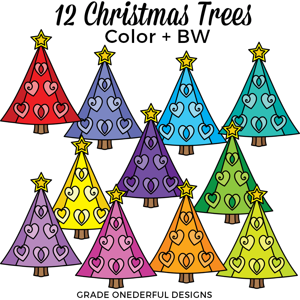 Fun and colorful Christmas tree clip art on transparent png background. 12 Christmas tree clips, perfect for your teacher products and scrapbooking! #gradeonederfuldesigns #christmastreeclipart #holidayclipart #clipartChristmas #christmastreepictures