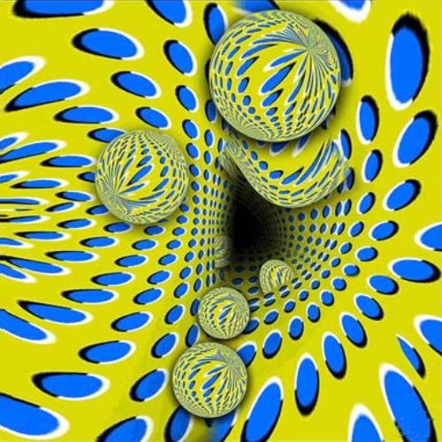 İçinde mavi benekli sarı renkli küreler olan yamuk bir tünel içeri doğru akıyor gibi görünüyor