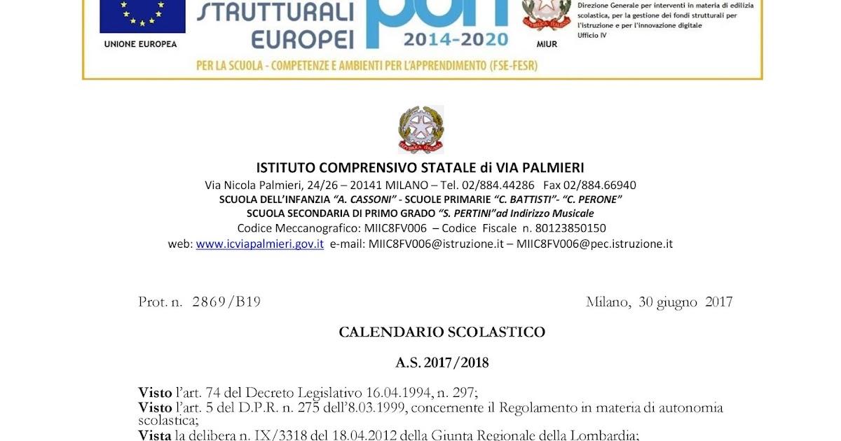 Miur Calendario Scolastico.Genitori San Giacomo Calendario A S 2017 2018