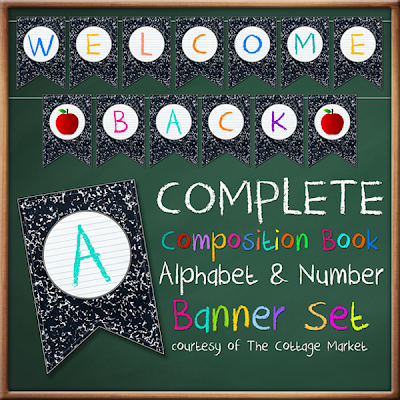 This composition book printable banner set is great for back to school.