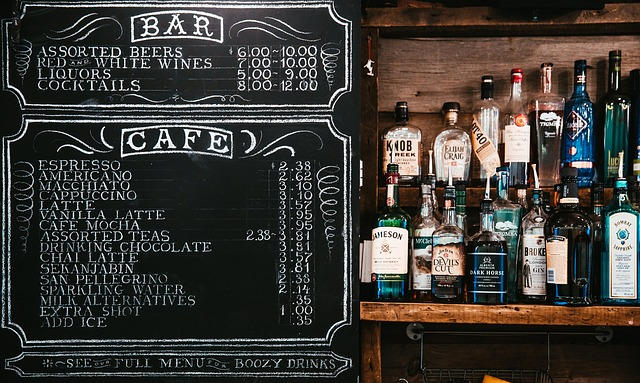 A drink list with creative font styled using chalk