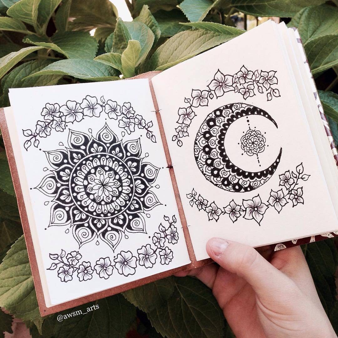 12-A-Star-and-the-Moon-Moleskine-Mandalas-Drawings-and-More-www-designstack-co