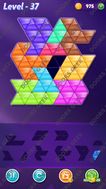 Block! Triangle Puzzle 10 Mania Level 37 Solution, Cheats, Walkthrough for Android, iPhone, iPad and iPod
