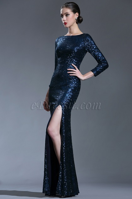 103af51883a41 edressit sparkly long sleeves sequin night dress ball gown