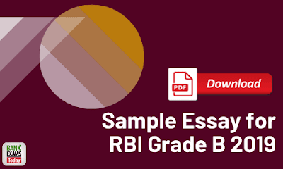 Sample Essay for RBI Grade B 2019 - PDF