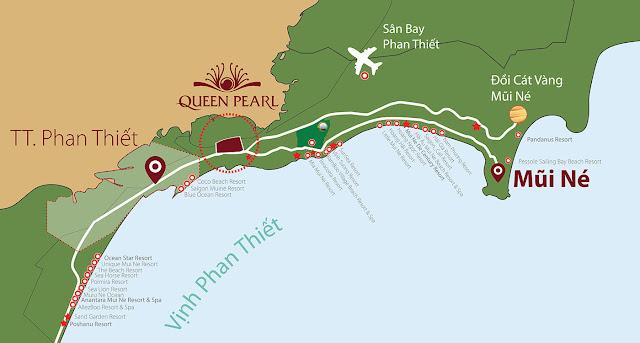 bản đồ tới dự án Queen Pearl Mũi Né