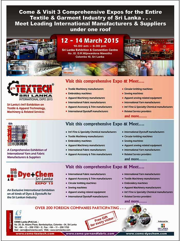 CEMS | 6th TEXTECH Sri Lanka International EXPO 2015