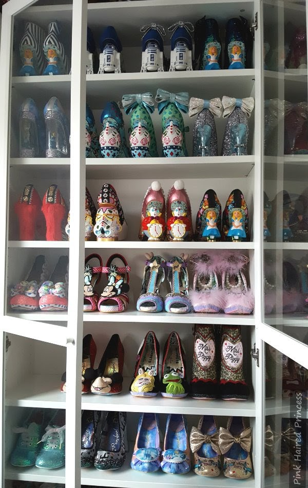 Ikea Billy bookcase with rows of Irregular Choice Disney shoes inside