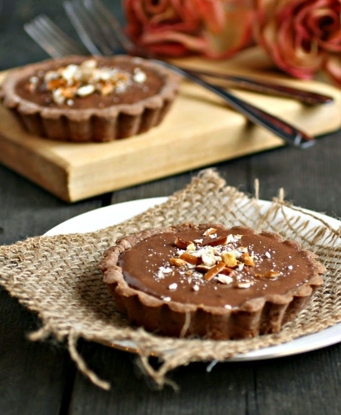 Chocolate Peanut Butter Pretzel Tarts for Two