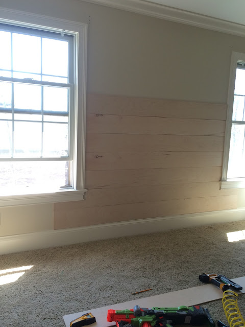 wood planks, one room challenge, diy, paneling