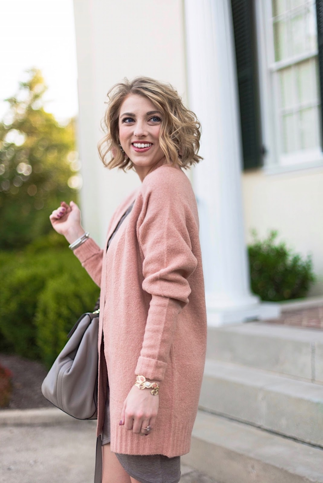 Rose Pink Cardigan - Something Delightful Blog