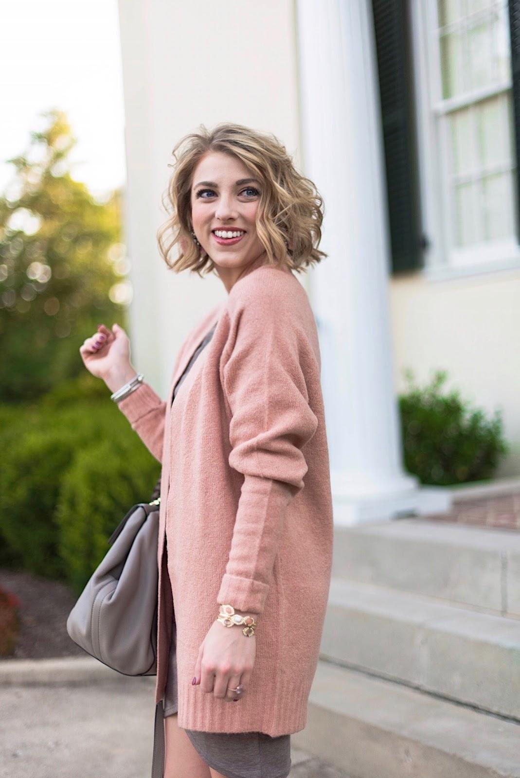 Rose Pink Cardigan - Something Delightful Blog