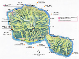 Carte de Tahiti en Polynésie francaise