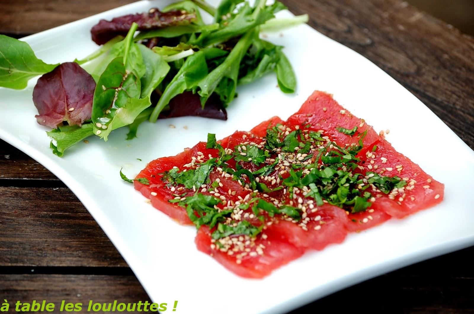 A table les loulouttes  carpaccio de thon rouge