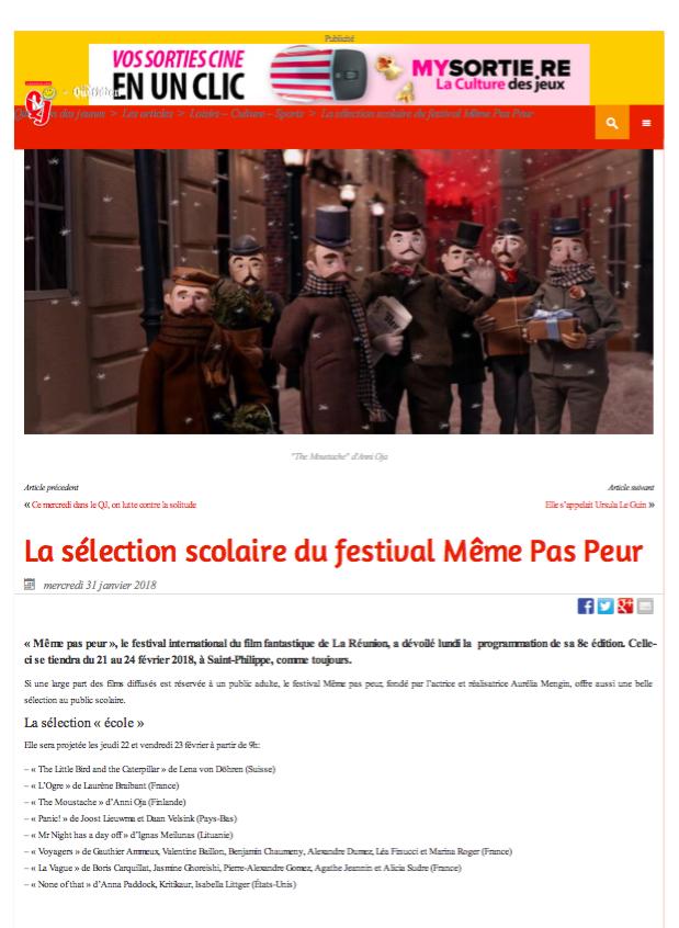 Le Festival MEME PAS PEUR dans le Quotidien Jeune du 1er février 2018