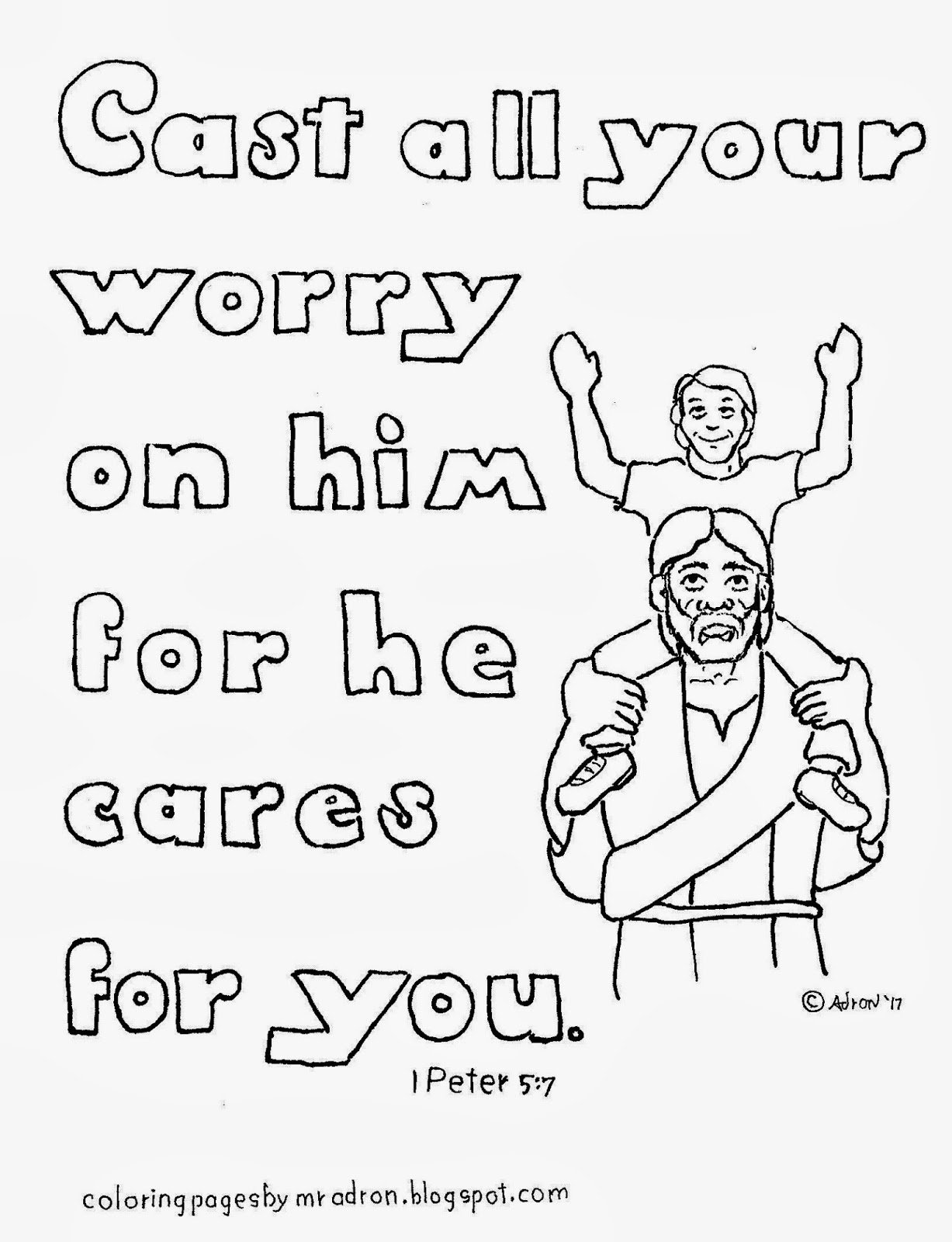 An illustration for 1 peter 5:7 to print and color.