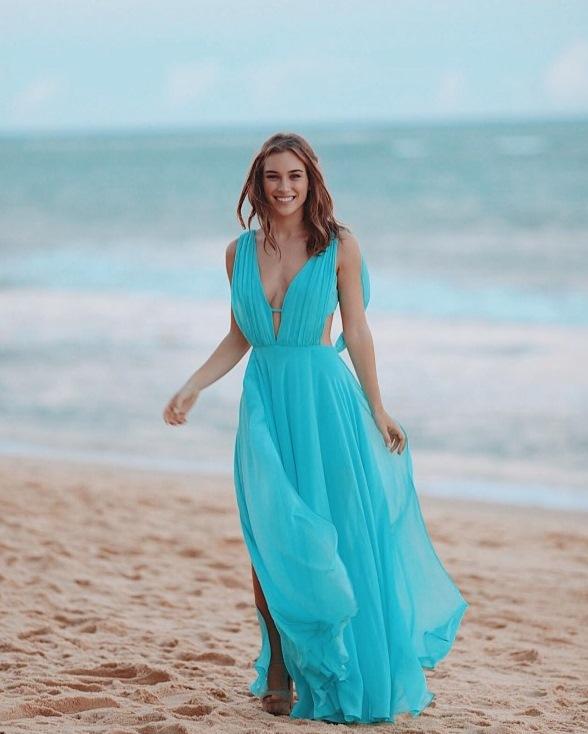 Vestido para madrinhas azul piscina