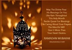 Ramadan Mubarak Wishes Cards: may the divine pour his blessings on you like