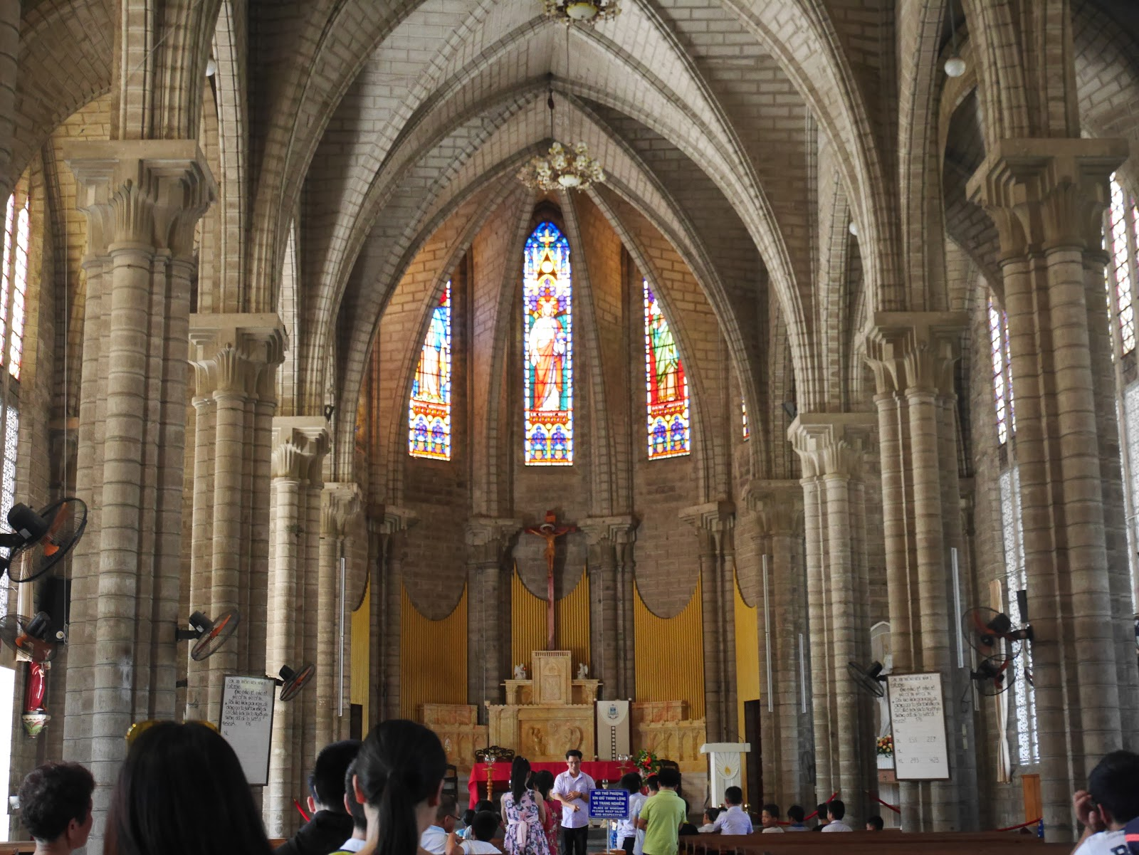 stained glass windows in nha trang vietnam cathedral