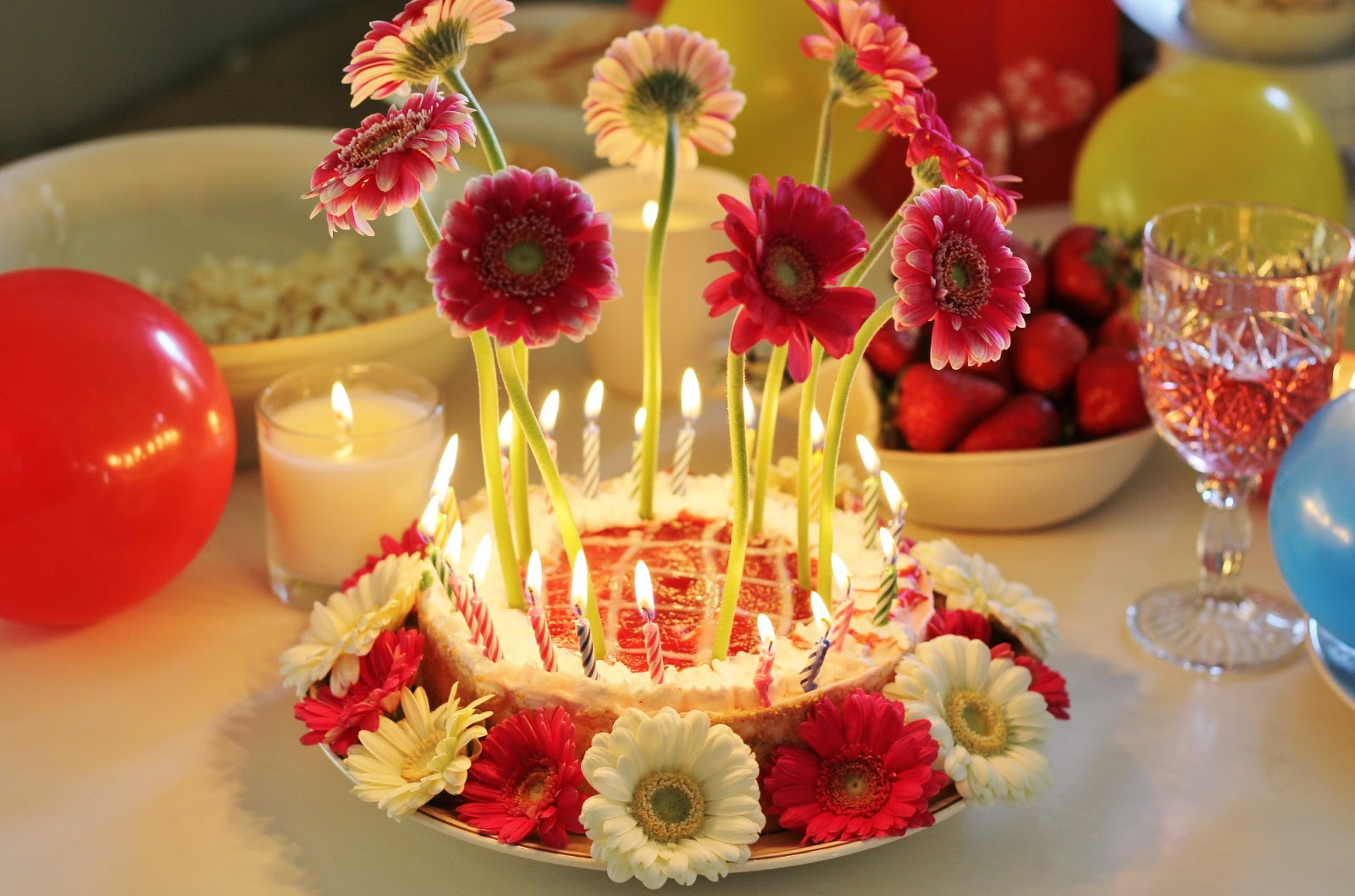 Happy Birthday Cakes And Flowers Through The BirthdayBirthday With Candles