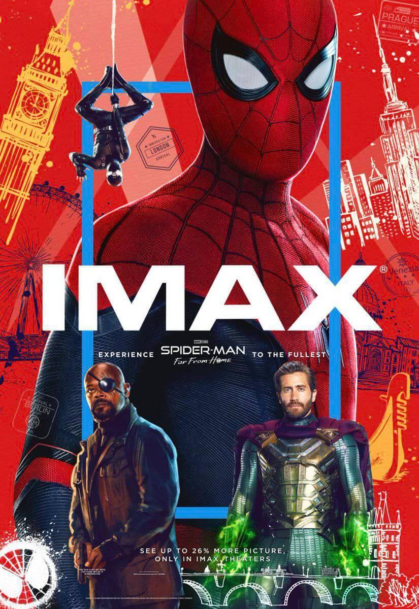 Pôster de IMAX oficial do filme Homem-Aranha: Longe de Casa
