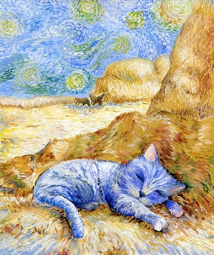 01-Inspired-By-Van-Gogh-Veselka-Velinova-Paintings-of-12-Cats-in-Different-Art-Styles-www-designstack-co
