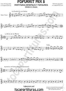 Mix 8 Partitura de Trompeta y Fliscorno La Escaleritas con Notas, La Reina de los Mares, Polka Popurrí 8 Sheet Music for Trumpet and Flugelhorn Music Scores Mix 8 Partitura de Clarinete La Escaleritas con Notas, La Reina de los Mares, Polka Popurrí 8 Sheet Music for Clarinet Music Score   Mix 8 Partitura de Saxo Tenor La Escaleritas con Notas, La Reina de los Mares, Polka Popurrí 8 Sheet Music for Tenor Saxophone Music Scores