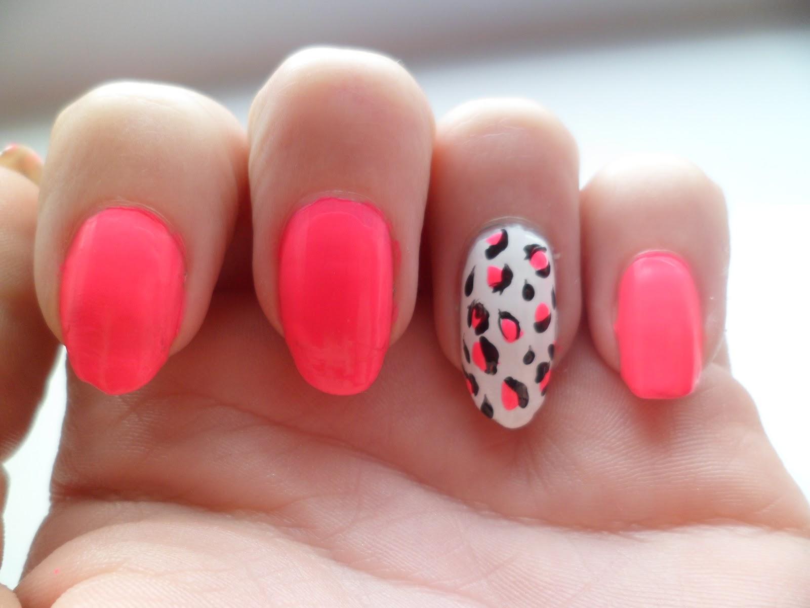 Neon Pink Animal Print Nail Art - Jenna Suth