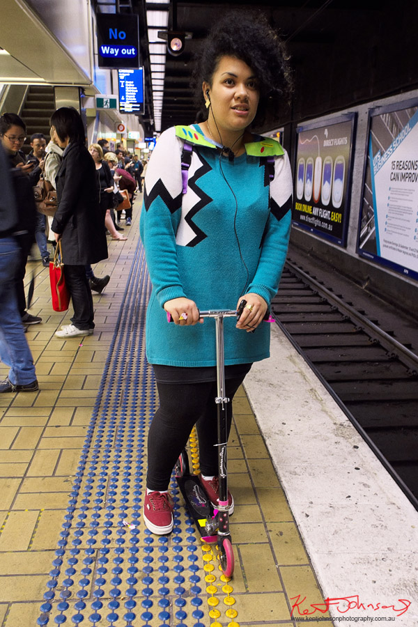 Street Fashion Sydney - Scooter Commuter in geometric style knit dress on Town Hall Station, Sydney Australia.