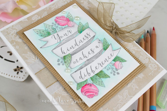 The soft tones of the watercolored image shine in this handmade card, thanks to the soft, kraft hued, background.  Created using Fun Stampers Journey Color Splash pencils, and the Your Kindness stamp (available as an exclusive bonus - a Bloom Benefit - for orders of $75 or more)