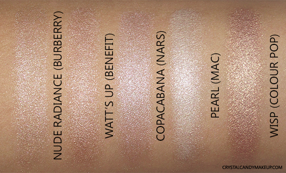 Burberry Fresh Glow Pen 01 Nude Radiance Swatch Benefit Watts Up Nars Copacabana MAC Pearl Colour Pop Wisp