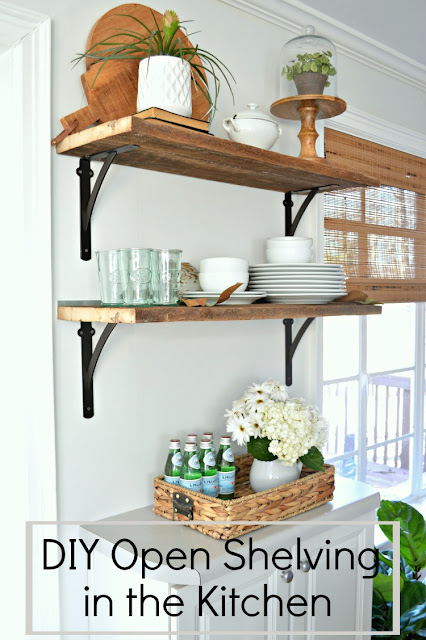 farmhouse kitchen open wood shelves