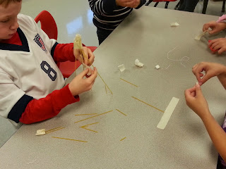 STEM Lab Visit- students must build the tallest skyscraper using spaghetti noodles, marshmallows, and tape