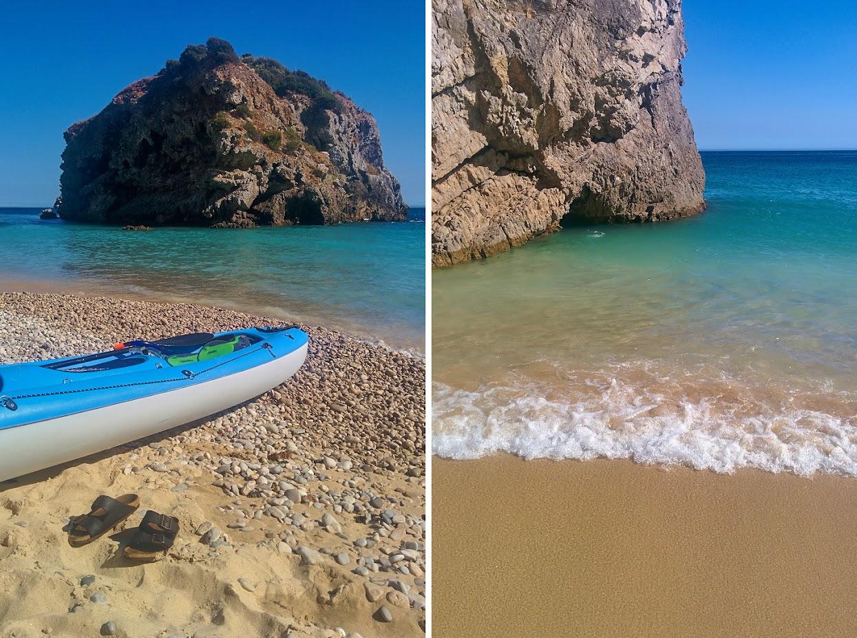 Kayak e onda na praia do Ribeiro do Cavalo