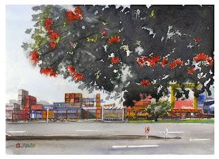 オークランド港とブラシノキ  水彩画 Auckland port & Bottlebrush tree Watercolor