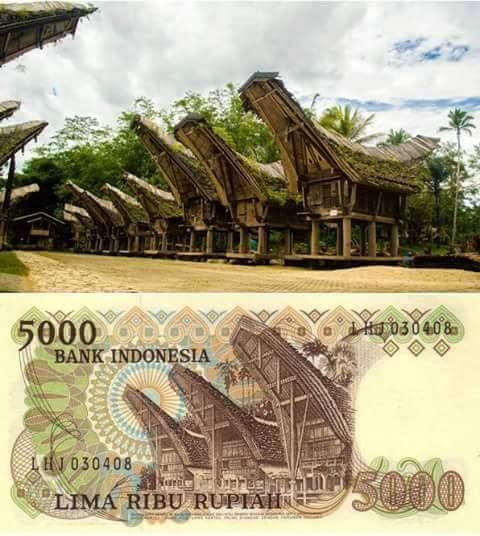 uang kertas 5 ribu rupiah Tongkonan Toraja
