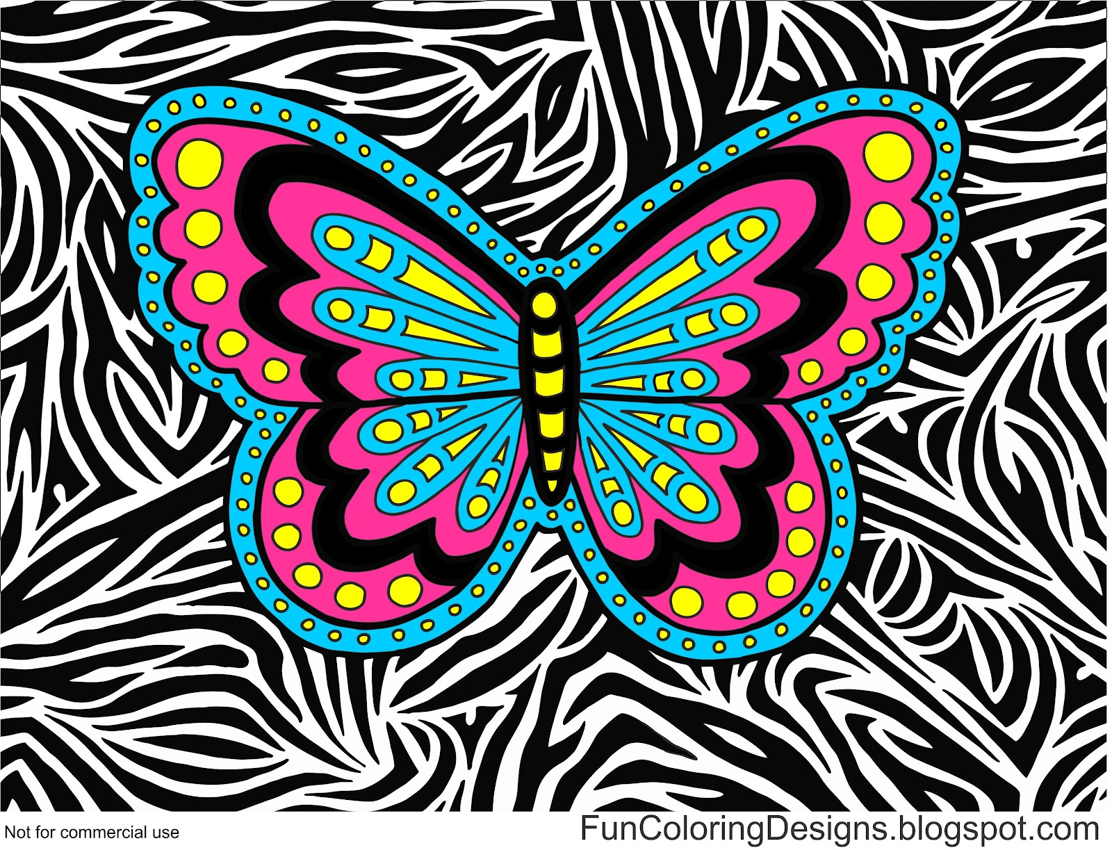 Fun Coloring Designs: Colored In Butterfly