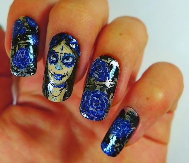 Uñas decoradas estilo dia de los muertos
