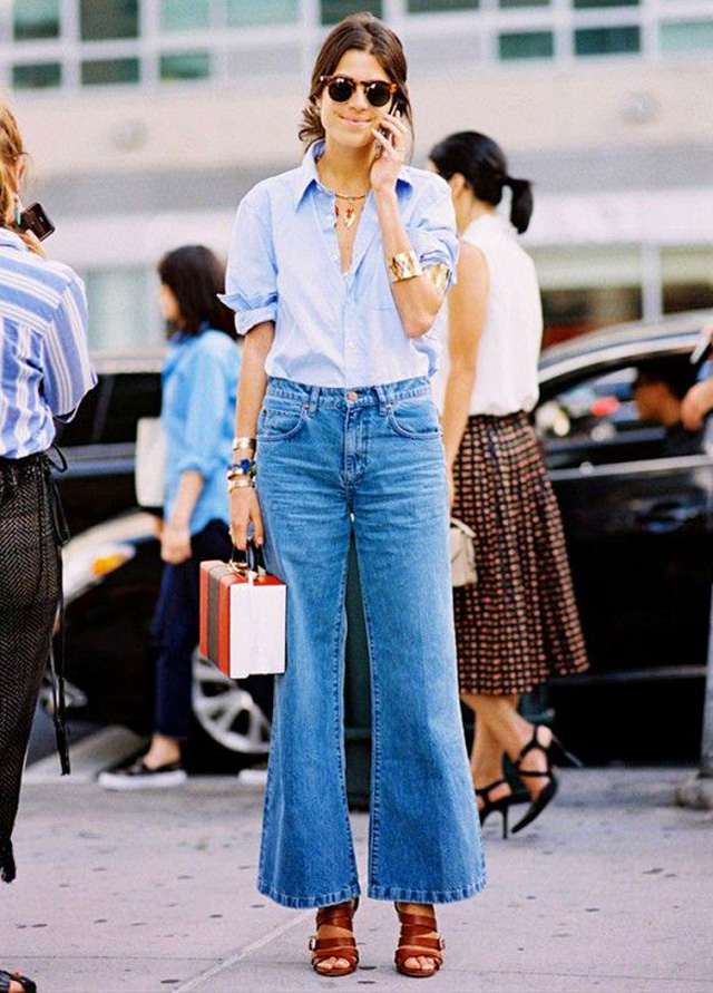 Leandra Medine wearing flared jeans, people and styles, spring trend, street style, pinterest street style