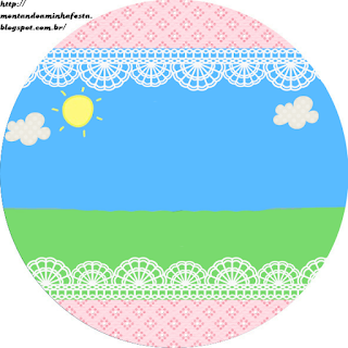 Country field with Pink Lace Toppers or Free Printable Candy Bar Labels.