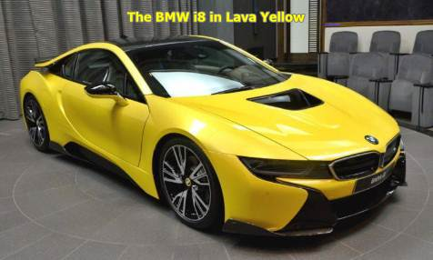 The BMW i8 in Lava Yellow