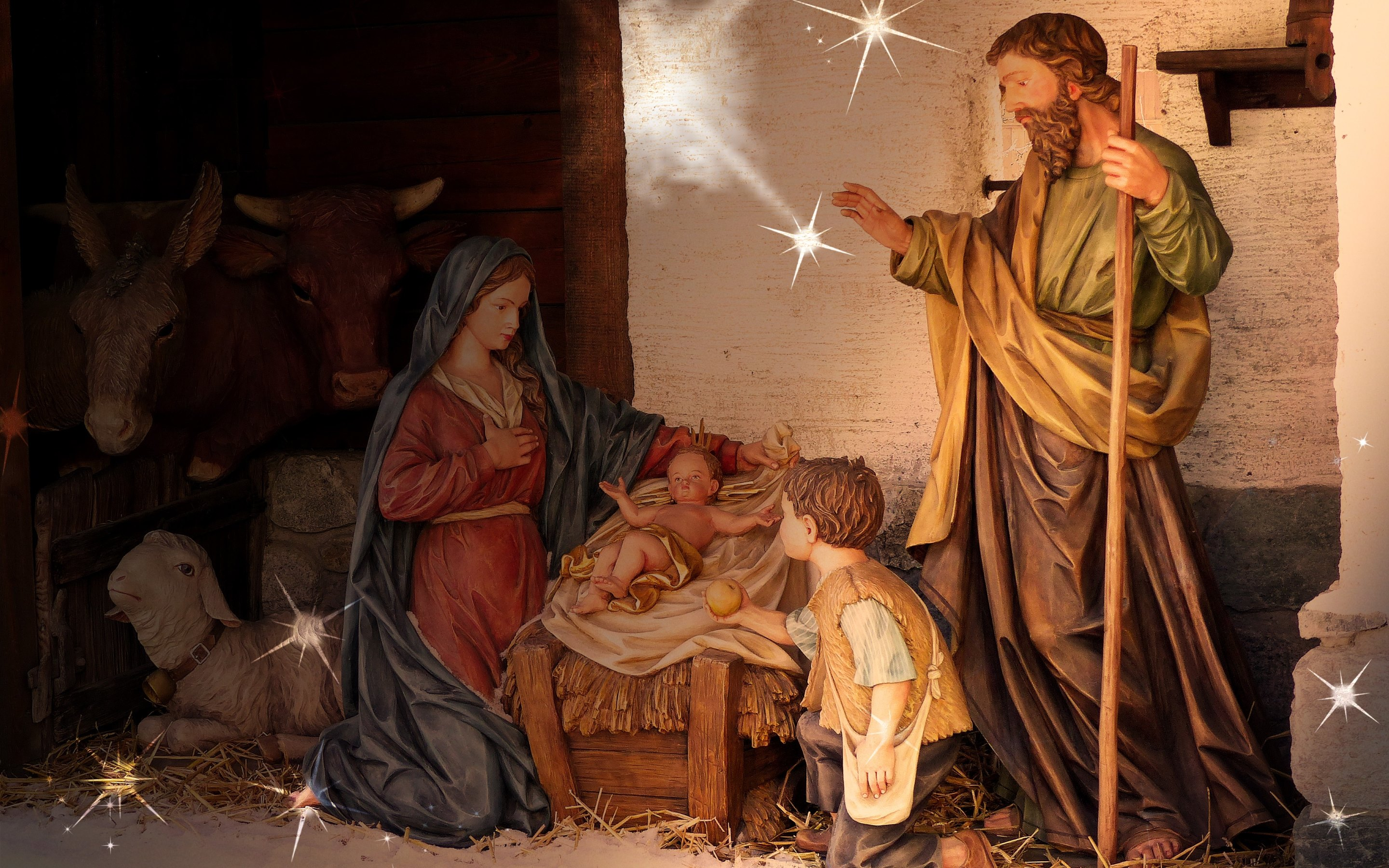 the birth scene of jesus from every christmas hd wallpapers 4k